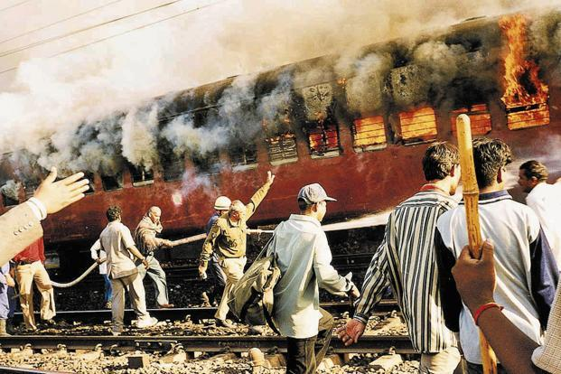 Coach S-6 of the Sabarmati Express, in which 59 people, mostly 'kar sevaks' returning from Ayodhya were travelling, was burnt on 27 February 2002 at the Godhra station, triggering riots in the state. Photo: AP (AP)