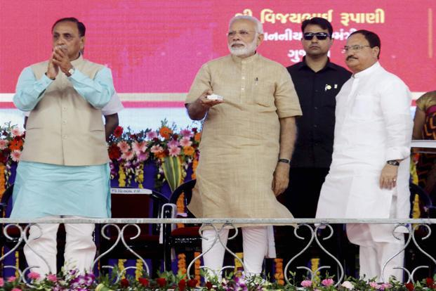 Prime Minister Narendra Modi launched the Intensive Indradhanush Misssion campaign for the vaccination of    children at a public meeting in Vadnagar on Sunday. Photo: PTI