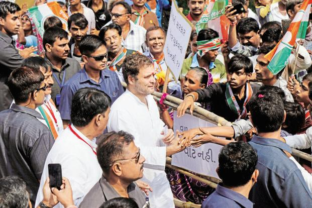 Congress vice president Rahul Gandhi at a public meeting at Raska village of Kheda district in Gujarat on Monday