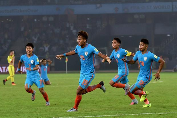Jeakson Thounaojam (15) celebrates after scoring India's first goal during the FIFA U-17 World Cup 2017 match against Colombia in New Delhi on Monday. Photo: PTI