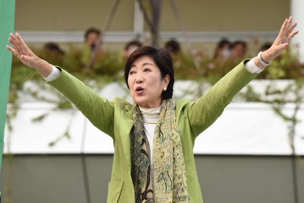 Tokyo governor and leader of the Party of Hope Yuriko Koike during an election campaign in Kawasaki, suburb of Tokyo, on Thursday. Japan will hold a snap election on 22 October in a verdict to PM Shinzo Abe's nearly five years of reign since late 2012. Photo: AFP