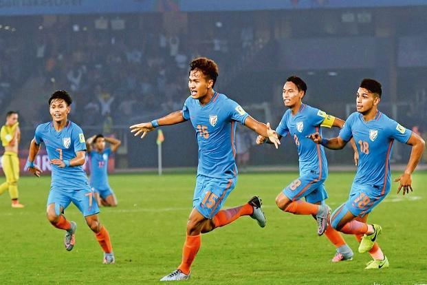 Jeakson Singh (15) scored India's first goal in a World Cup. Photo: PTI