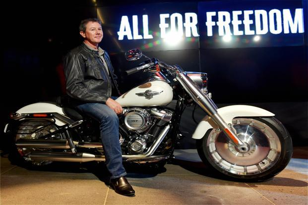 Harley -Davidson India and China MD Peter MacKenzie during the launch of 2018 models of Harley-Davidson motorcycles in India on Thursday. Photo: PTI