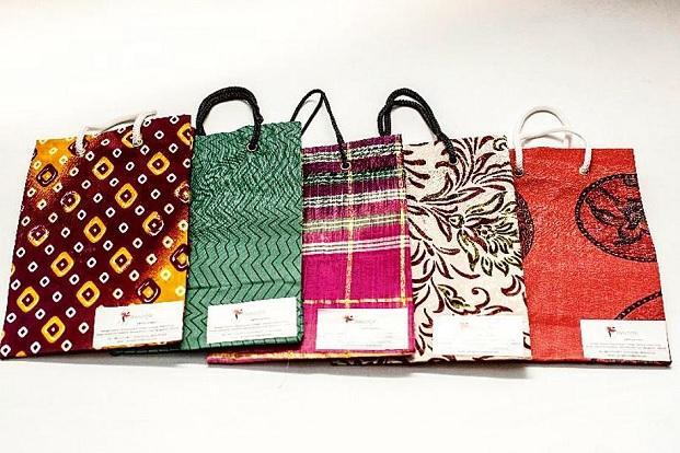 Bags made with discarded silk saris by Amogh Trust. Photo: Jayashree/Amogh Trust