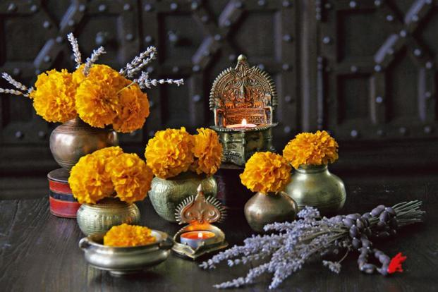 Pair marigolds with brass 'kalashas' for a classic Diwali look. Photo: Courtesy The East Coast Desi