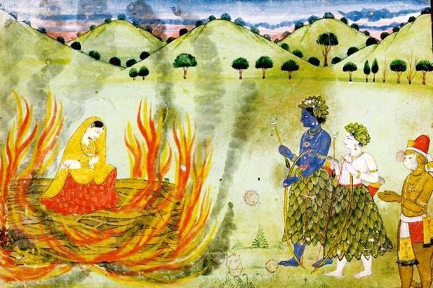 Agni Pariksha: A scene from the Ramayan where Sīta undergoes the ordeal by fire watched by Rām, Laxman and Hanuman, circa 1820, artist unknown. Photo: Wikimedia commons