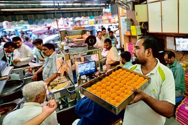 Freshly made 'moti-choor laddoos' at Chaina Ram.