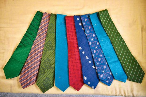 Ties made with old saris.
