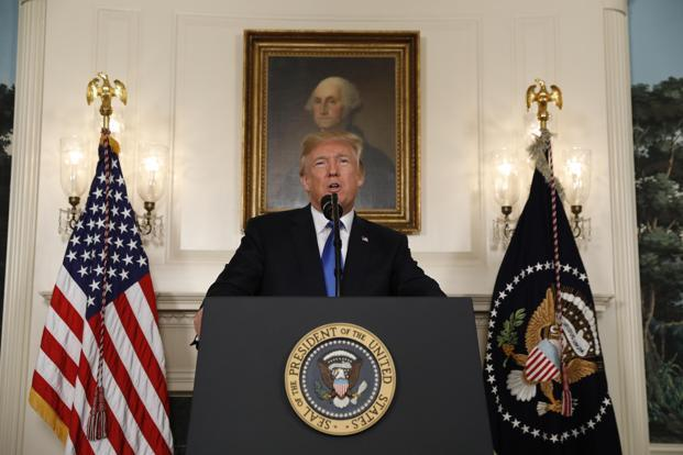 US President Donald Trump speaks about the Iran nuclear deal At the White House in Washington. Photo: Reuters