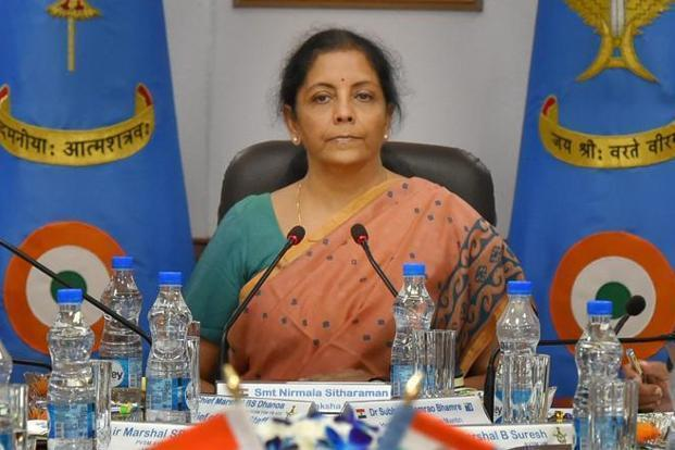 Nirmala Sitharaman said INS Kiltan strengthens our defence system and will be a shining armour in our 'Make in India' programme. Photo: PTI
