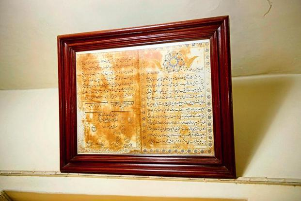 A restored 'firman' in the library. Photo: Abhijit Bhatlekar/Mint