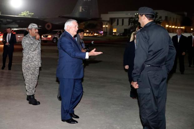 US secretary of state Rex Tillerson left Pakistan for India Tuesday evening, less than four hours after landing. Photo: AFP
