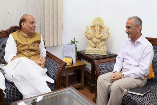 Dineshwar Sharma, former director of intelligence bureau, calling on the Union home minister, Rajnath Singh, after being appointed as the representative of government of India to initiate dialogue in Jammu and Kashmir, in New Delhi on Monday. Photo: PTI