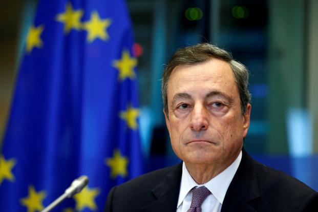 European Central Bank president Mario Draghi. The bank cut bond buys in half to €30 billion a month, taking comfort in the economic recovery being seen in Europe. Photo: Reuters