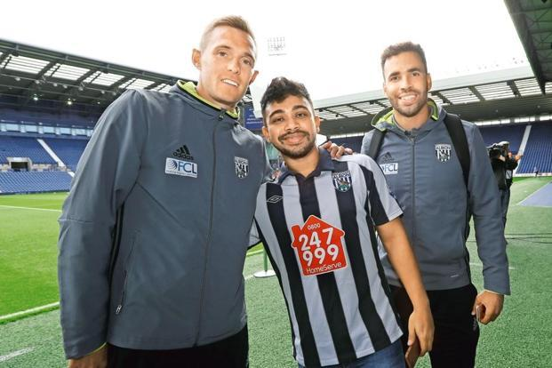 Debanjan Banerjee (centre) with Darren Fletcher (left) and Hal Robson-Kanu at the Hawthorns. Adam Fradgley/AMA