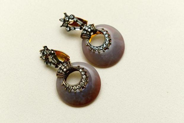 Vintage agate and diamond earrings designed by her father Dinesh Jhaveri in the 1970s. Photo: Abhijit Bhatlekar/Mint