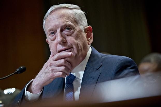 A file photo of US secretary of defence James Mattis. Photo: Bloomberg