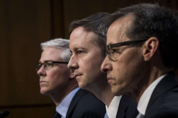 (Left to right) Facebook's Colin Stretch, Twitter's Sean Edgett, and Google's Richard Salgado testify during a Senate Judiciary Subcommittee on crime and terrorism on Capitol Hill in Washington on Tuesday. Photo: Getty Images