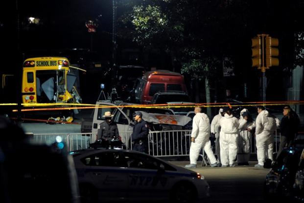 Police investigate the scene of a pickup truck attack on the West Side Highway in Manhattan, New York, on Tuesday. Photo: Reuters