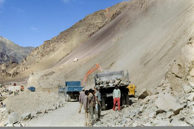 The Border Roads Organisation's (BRO) road through Umling La, the world's highest motorable road, beats Khardung La at an altitude of 17,900 feet and Chang La Pass at 17,695 feet. Photo: Ramesh Pathania/Mint