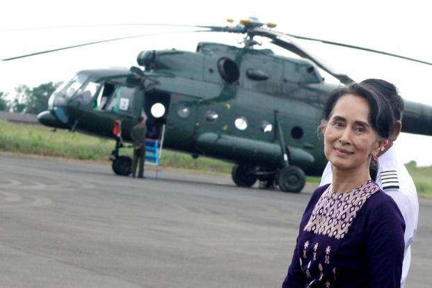 Aung San Suu Kyi arrives at Sittwe airport after visiting Maungdaw in the state of Rakhine on Thursday. Photo: Reuters
