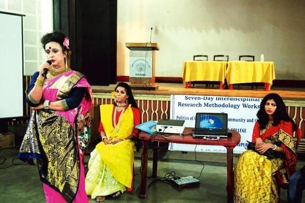 Transgender college principal Manabi Bandopadhyay (pink saree), along with other members, at a seminar at Brabourne college, Kolkata, on 9 October 2015. Photo: Indranil Bhoumik/Mint