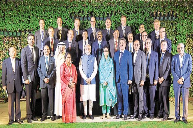 Prime Minister Narendra Modi, food processing industries minister Harsimrat Kaur Badal and minister of state Sadhvi Niranjan Jyoti with business leaders at World Food India 2017 in New Delhi. Photo: PTI