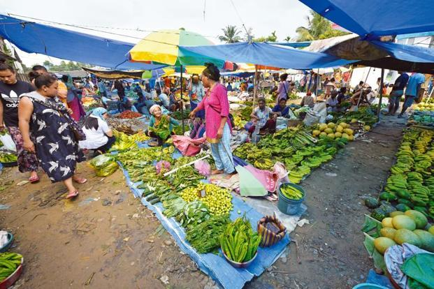 A vegetable market en route to Dimapur from Kohima, predominantly run by women.