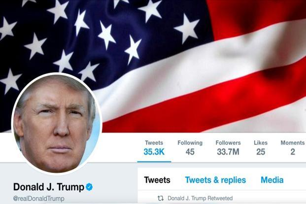 The masthead of US President Donald Trump's @realDonaldTrump Twitter account