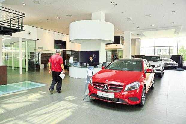 A file photo of a Mercedes-Benz showroom in Delhi. Demonetisation forced consumers to think rationally about a purchase that is almost always heavily influenced by sentiment. Photo: Pradeep Gaur/Mint