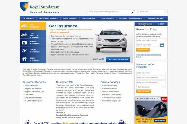 Royal Sundaram offers motor, health, personal accident, home and travel insurance to individual customers and offers specialized insurance products in fire, marine, engineering, liability and business interruption risks to commercial customers.