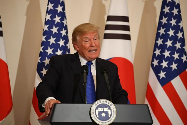 Donald Trump speaks during a news conference in Seoul on Tuesday. Photo: Bloomberg