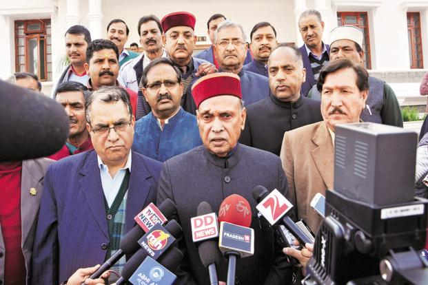 Prem Kumar Dhumal is BJP's chief ministerial candidate for the Himachal Pradesh elections. Photo: HT