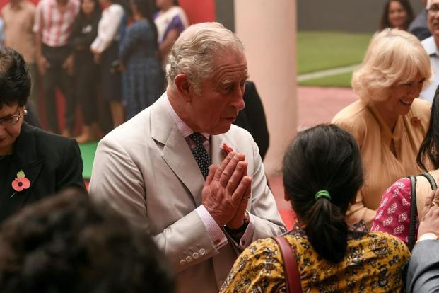 Britain's Prince Charles and his wife Camilla attend a cultural event at the British Council in New Delhi on Wednesday. Photo: AFP