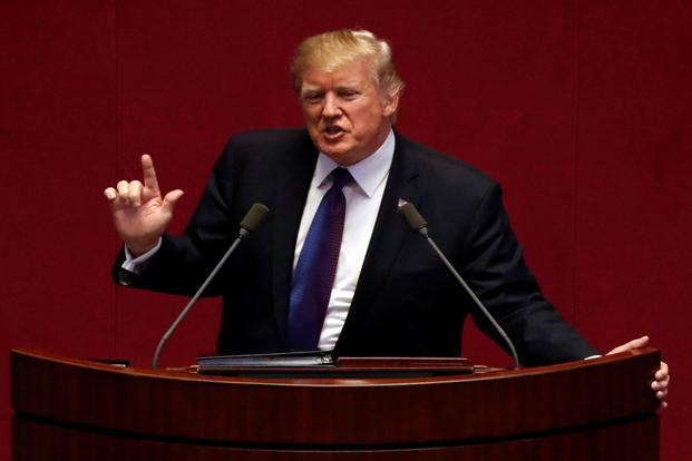 US President Donald Trump speaks at the South Korean National Assembly in Seoul, South Korea, on Wednesday. Photo: Reuters