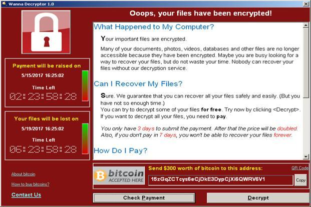A screenshot shows a WannaCry ransomware demand, provided by cybersecurity firm Symantec, in Mountain View, California, US. Photo: Reuters