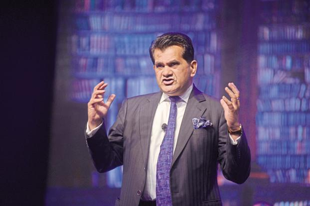 Niti Aayog CEO Amitabh Kant says India is the only country in the world with billion biometrics and as many mobile phones and bank accounts and therefore, in future, it will be the only nation which will make a lot of disruptions. Photo: Abhijit Bhatlekar/Mint