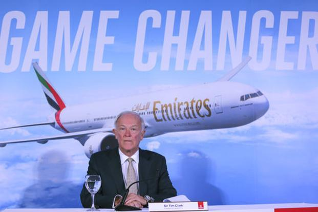 Emirates president Tim Clark at the opening day of the Dubai Airshow on Sunday. Emirates joined forces with Mercedes-Benz to launch new first-class suites. Photo: AP