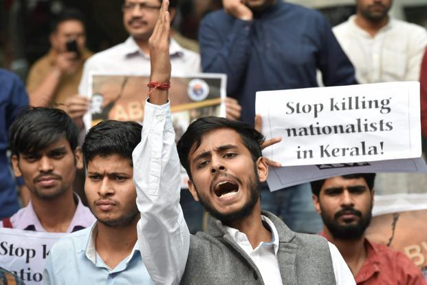 ABVP students protesting the killings of RSS and BJP workers in Kerala during a protest at Kerala House, New Delhi, on Saturday. The CPM has accused the BJP and the RSS of resorting to violence and denied the involvement of its government and leadership in the killings. Photo: PTI