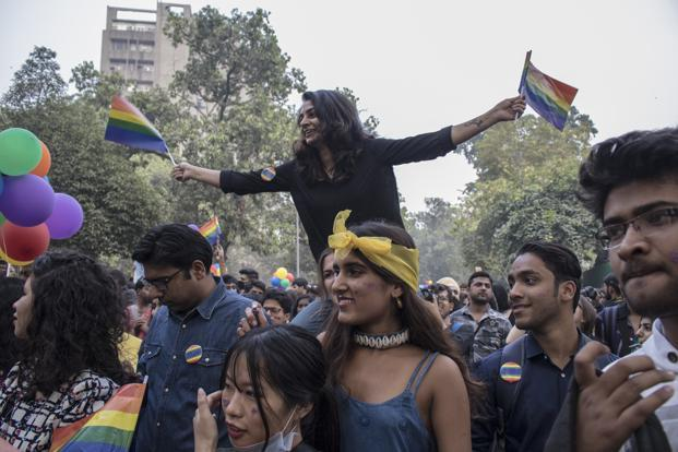 Participants celebrate the freedom of expression at the Delhi Queer Pride, 2017.  Photo: Paroma Mukherjee