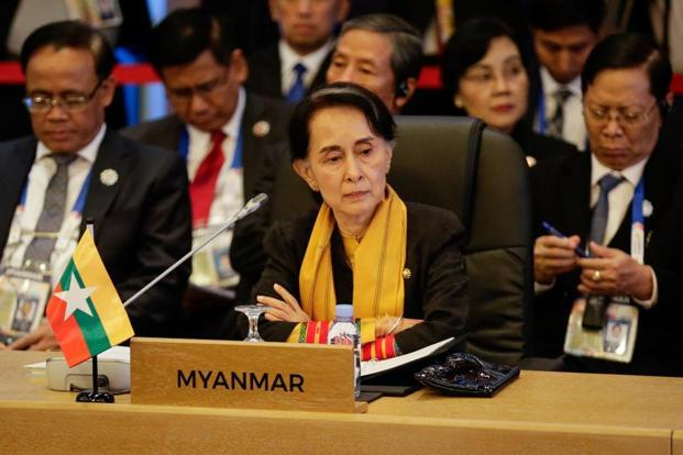 At a photo opportunity at the top of her meeting with Tillerson, Suu Kyi ignored a journalist who asked if the Rohingya were citizens of Myanmar. Photo: AFP