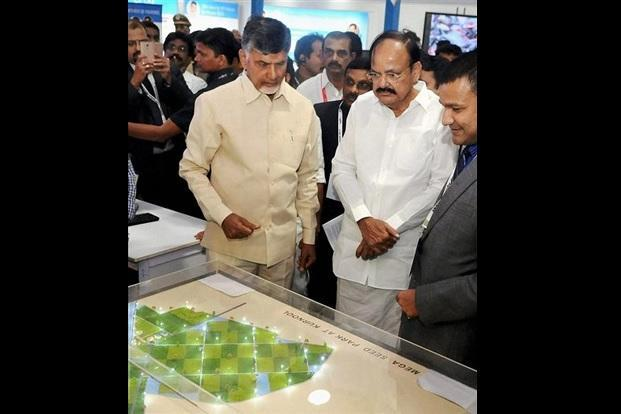 Vice President M. Venkaiah Naidu with Andhra Pradesh chief minister N. Chandrababu Naidu visiting the exhibition on AP AgTech Summit 2017, in Vizag, Andhra Pradesh on Wednesday. Photo: PTI