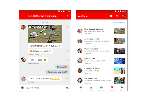 YouTube has a social media page with a built-in messenger where users can chat with friends and share new and interesting videos.