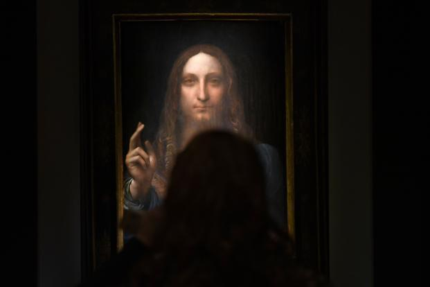 Leonardo da Vinci's 'Christ as Salvator Mundi' on display at Christie's New York during a press preview for the Post-War & Contemporary Art Evening Sale. Photo: AFP