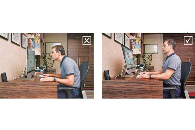 Heath Matthews shows the wrong (left) and right postures. Photographs by Aniruddha Chowdhury/Mint