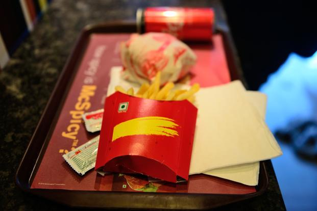 The famous golden arches (the signature yellow 'M' of McDonald's) that glint above drive-throughs and restaurants across the world, are no longer to be found on any of the packaging. Photo: Priyanka Parashar/Mint
