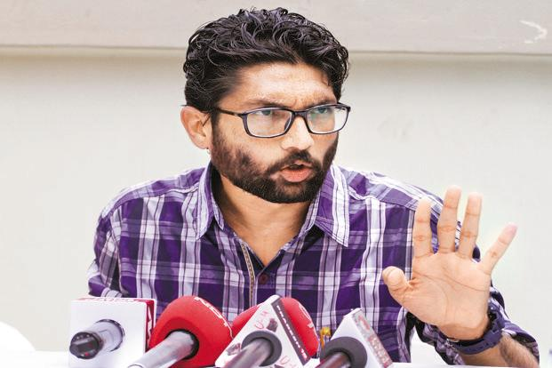 Congress has been wooing three caste leaders— Jignesh Mevani (in photo), Alpesh Thakor and PAAS convener Hardik Patel—to defeat the BJP in Gujarat elections. Photo: HT