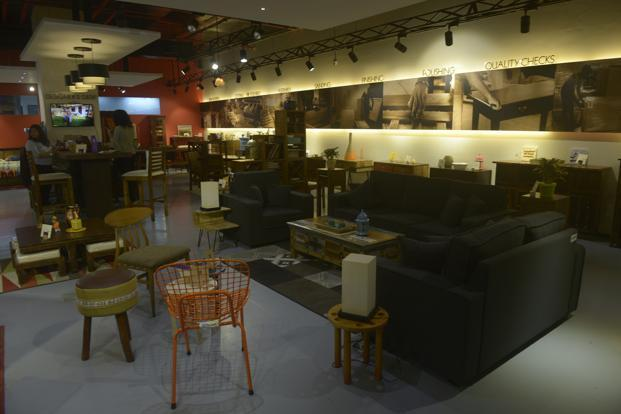 Furniture displayed at a Pepperfry offline experience centre in Mumbai.