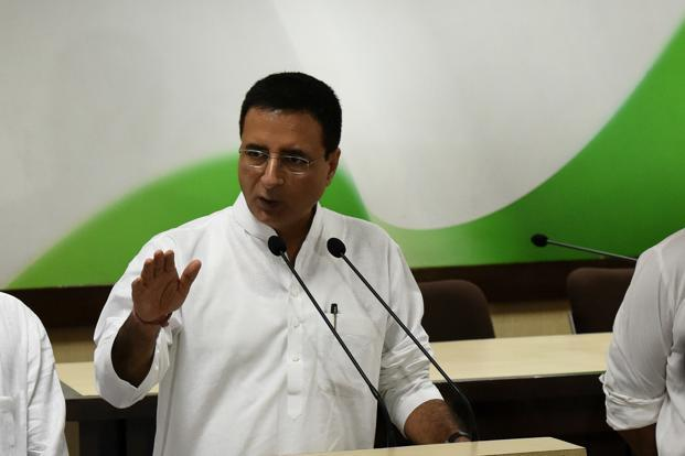Congress spokesperson Randeep Surjewala. Polling for the two-phase Gujarat elections will take place on 9 and 14 December and the votes will be counted on 18 December. Photo: HT