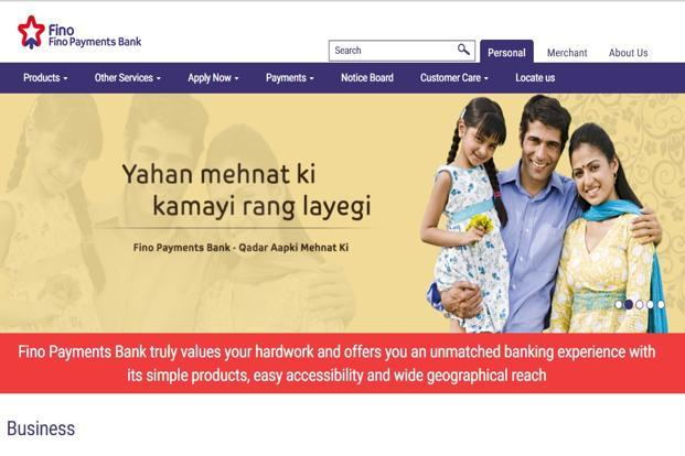 A screen grab of Fino Payments Bank website